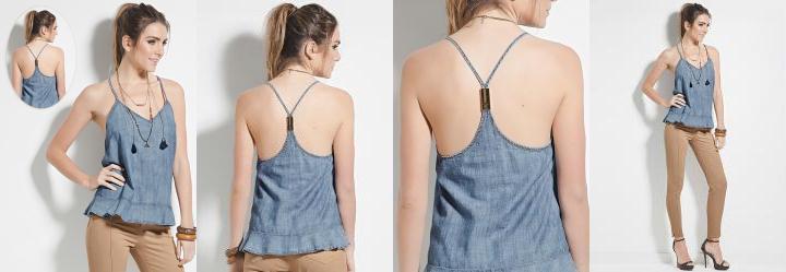 Blusa Jeans Colcci com Al�as