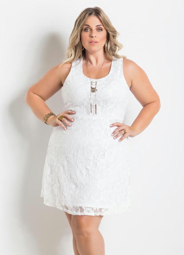 Vestido de Renda (Branco) Plus Size