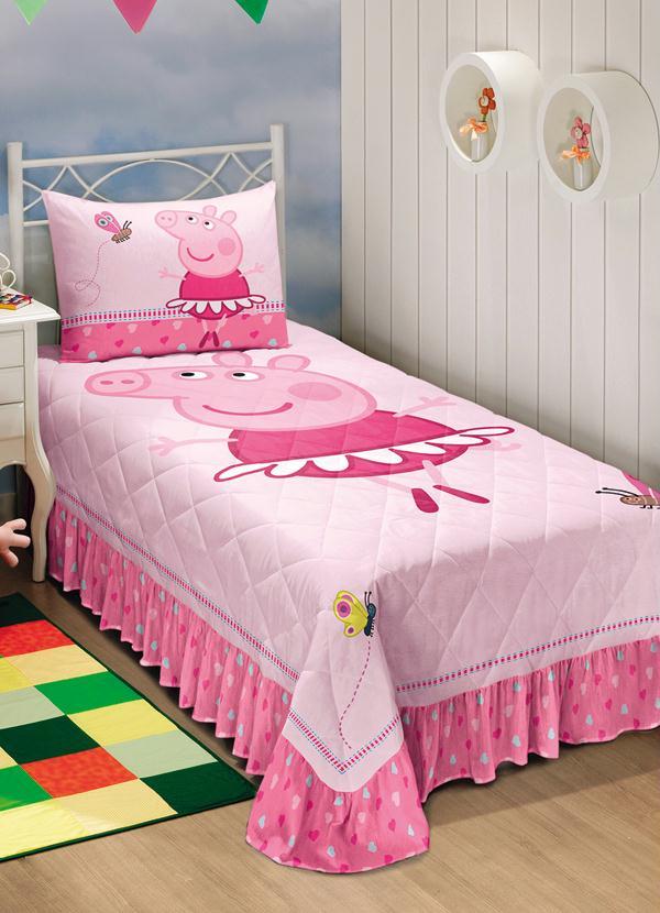 Colcha infantil matelass peppa pig rosa lar lazer for Cama e mesa