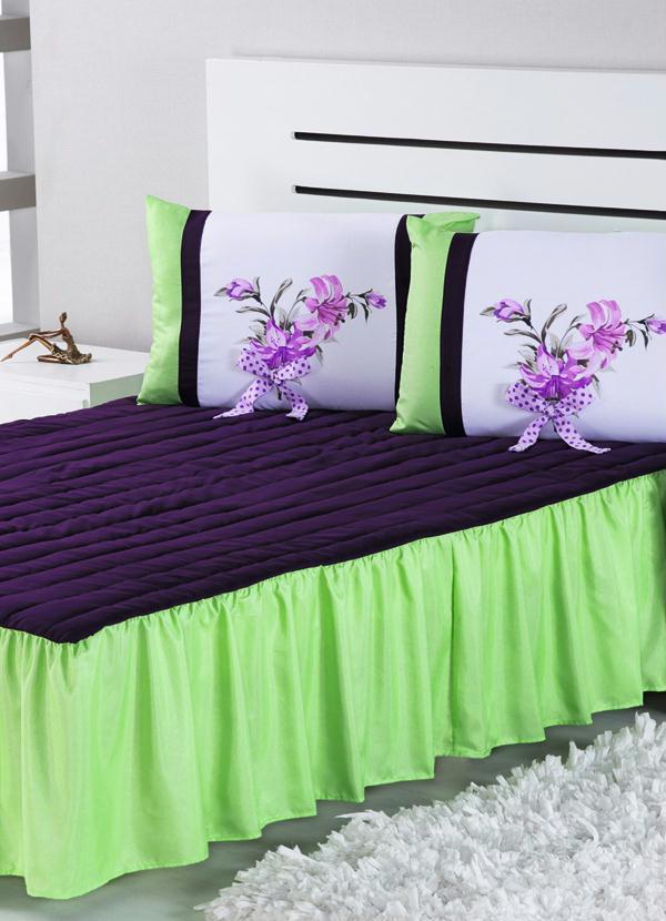 Colcha casal e porta travesseiros hibisco verde portal for Cama e mesa