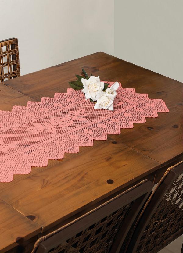 Trilho de mesa em renda 150 x 42 cm salm o lar lazer for Cama e mesa
