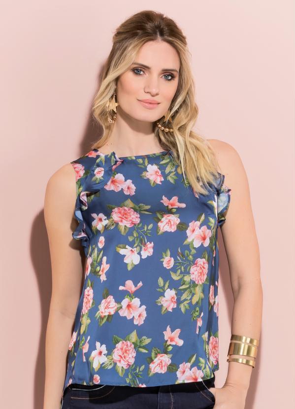 9f0a6be8df Quintess - Blusa Floral Quintess com Babado Frente e Costas - Quintess