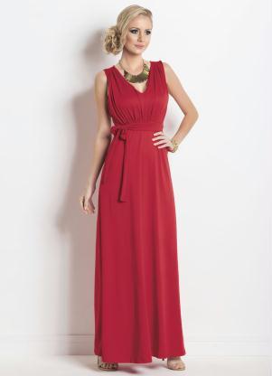 79f8ffe0e produto Vestido Longo Decote V em Crepe Vermelho Multimarcas