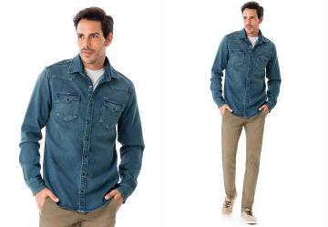 Camisa Jeans Manga Longa Jeans Hangar 33