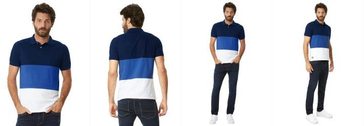 Camisa Polo Listras Malha Azul Hangar 33