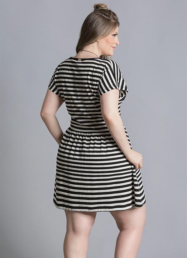 Vestido longo feminino plus size listrado