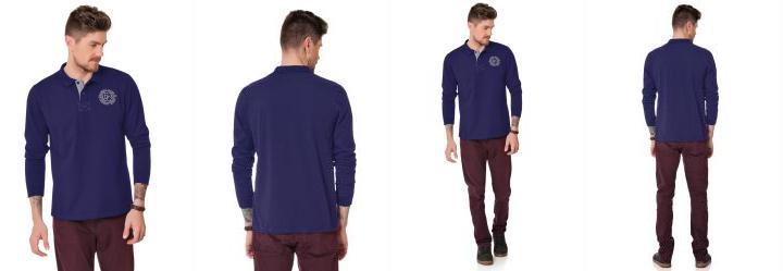 34b0a82bef 0.0 Camisa Polo Azul Marinho Fakini Masculino